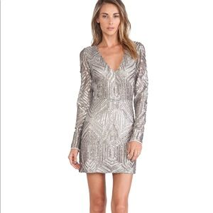 Saylor NWT Silver Sequence Cocktail Dress XS